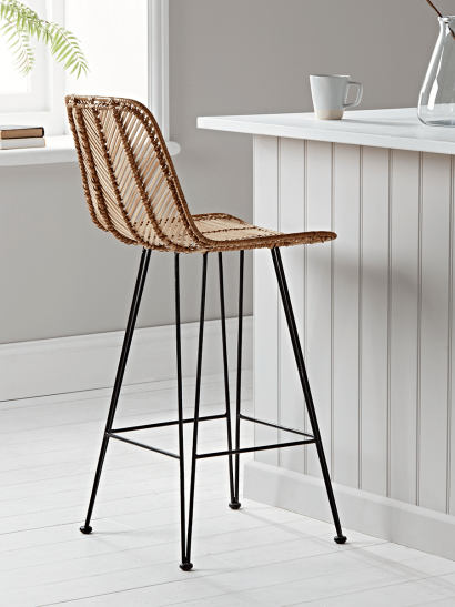 Chevron Flat Rattan Counter Stool