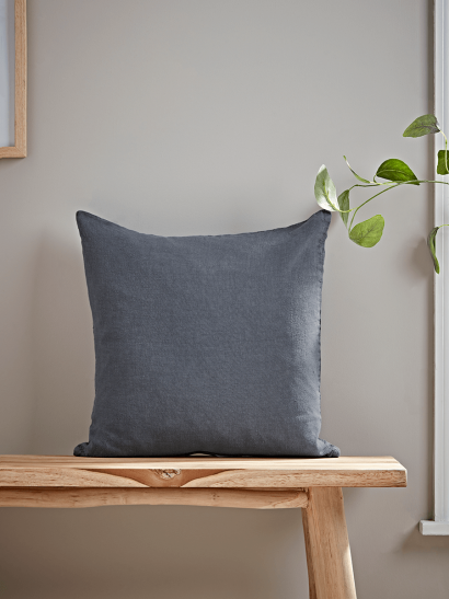 Washed Linen Square Cushion - Soft Indigo