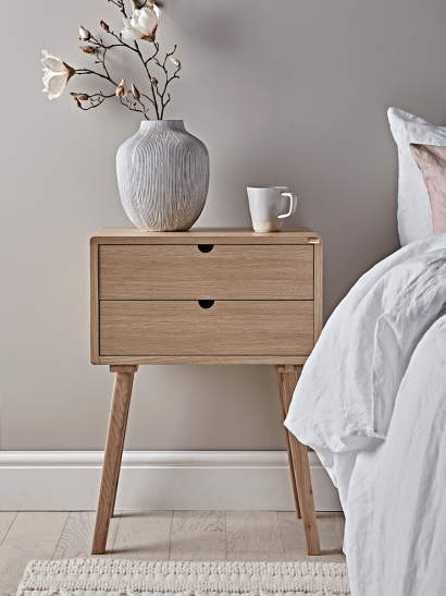 Two Drawer Oak Bedside Table