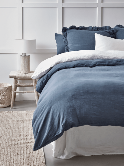 Washed Linen Double Fitted Sheet - Soft Indigo