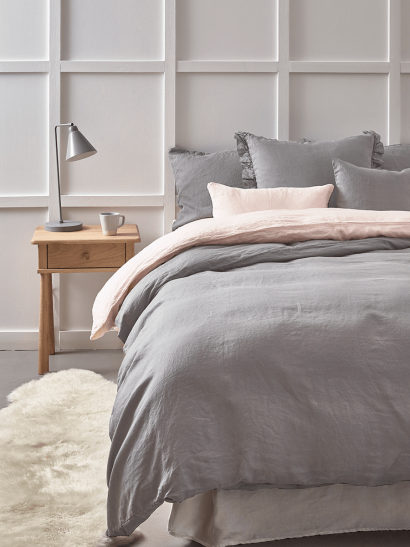 Washed Linen Single Duvet Cover - Smoke Grey