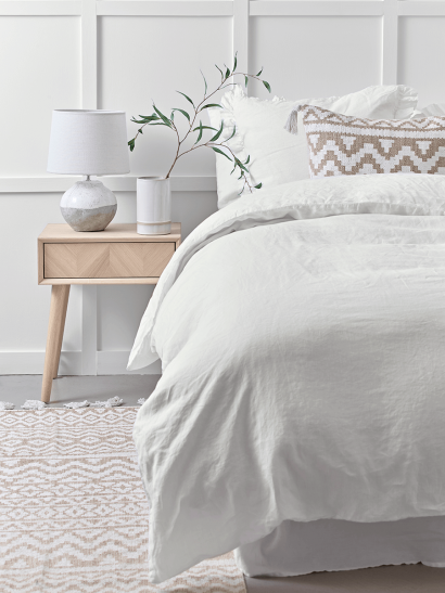 Washed Linen Bedding - White