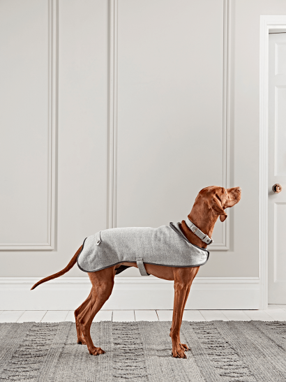 Grey Herringbone Wool Dog Coat