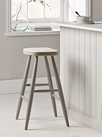 Grey & Limewashed Counter Stool