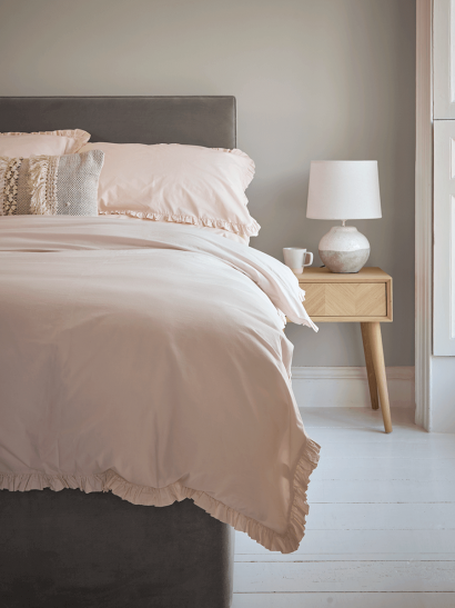 Washed Cotton Ruffle Double Duvet Cover - Soft Blush