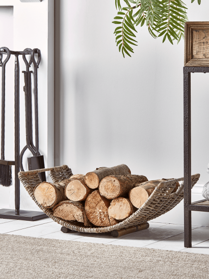 Round Rattan Log Basket - Curved