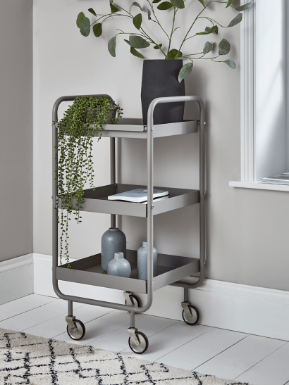 Slim Grey Metal Trolley