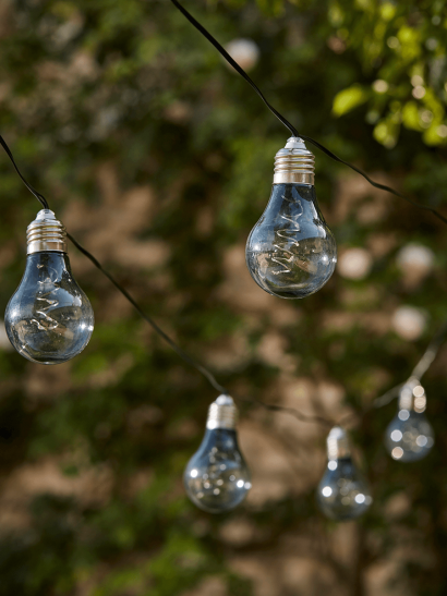 Solar Bulb Festoon Lights - Grey