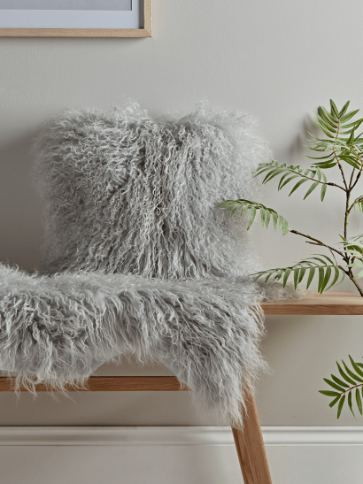 Tibetan Sheepskin Cushion - Soft Grey