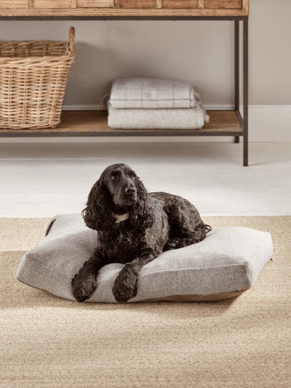 Herringbone Wool Dog Bed - Grey