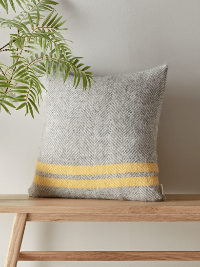 Soft Wool Cushion - Mustard French Stripe