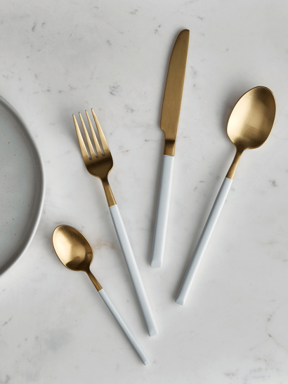 White & Brushed Gold Cutlery Set
