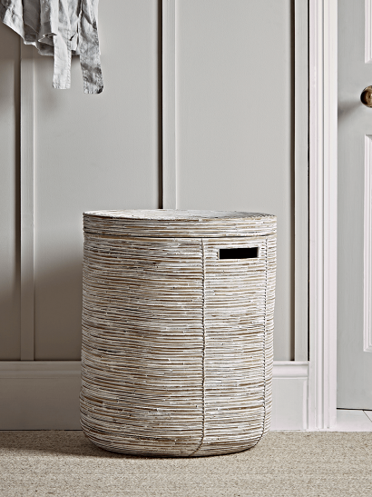 Whitewashed Round Rattan Laundry Basket