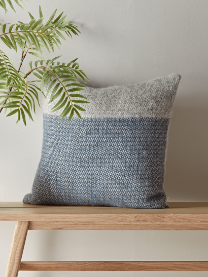 Soft Wool Cushion - Blue & Grey