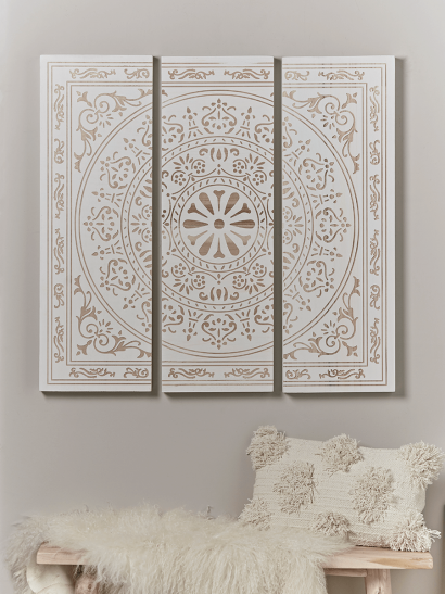 Etched Triptych Wall Panel