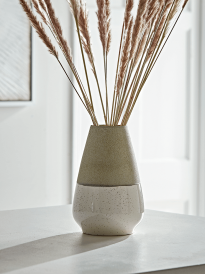 Dipped Speckled Tapered Vase - Grey Top