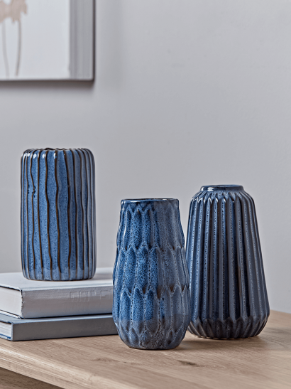 Three Textured Blue Vases