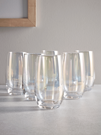 Six Lustre Highball Glasses
