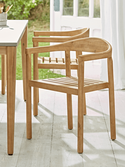 NEW Two Acacia Dining Chairs