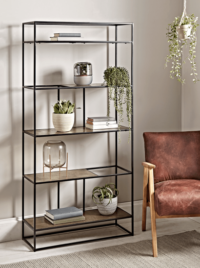 Textured Topped Metal Shelf Unit - Gold