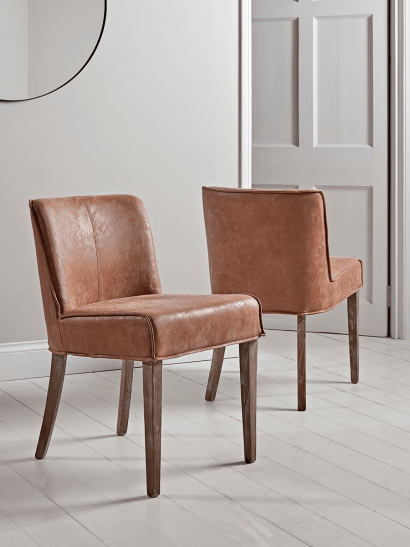 Two Leather & Wood Dining Chairs