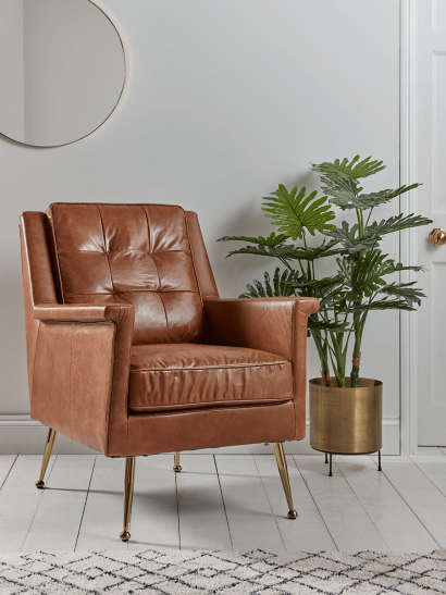 NEW Buttoned Leather Armchair - Tan