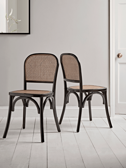 Two Cane Webbing Dining Chairs - Black