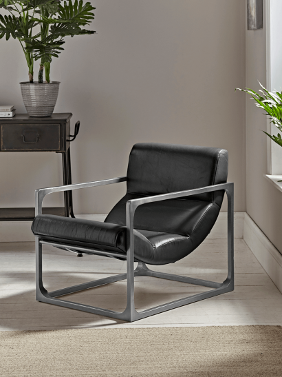 NEW Black Leather Frame Chair