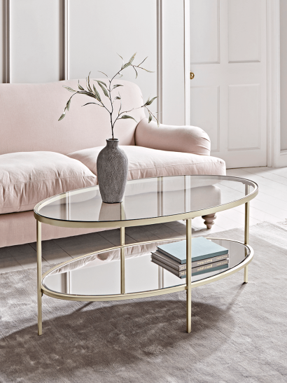 Glass Display Coffee Table - Soft Gold