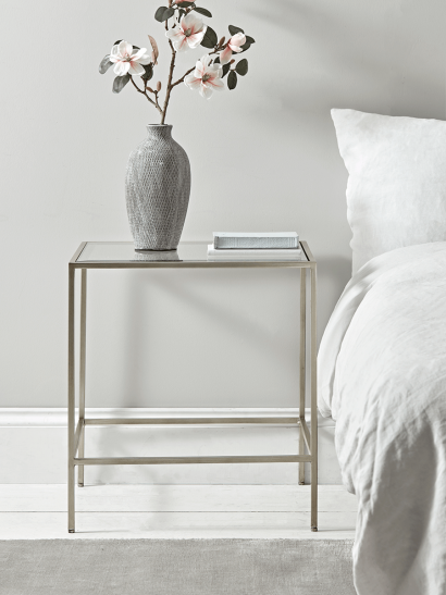 Villette Bedside Table - Silver