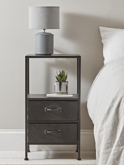 Industrial Two Drawer Bedside Table