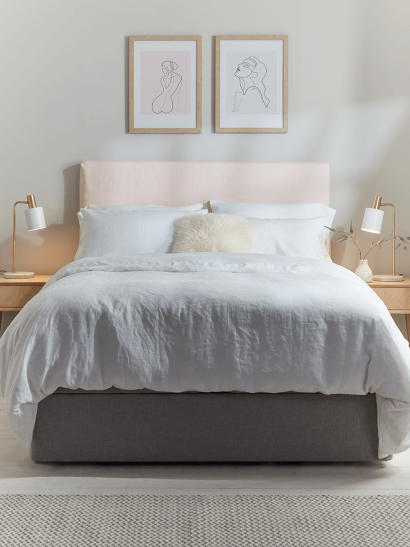 NEW Washed Linen Loose Cover & Headboard Set - Soft Blush