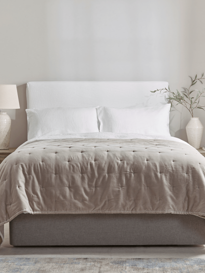 Washed Linen Loose Cover & Headboard Set - White