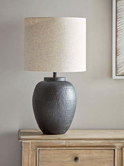 NEW Black & Neutral Textured Table Lamp