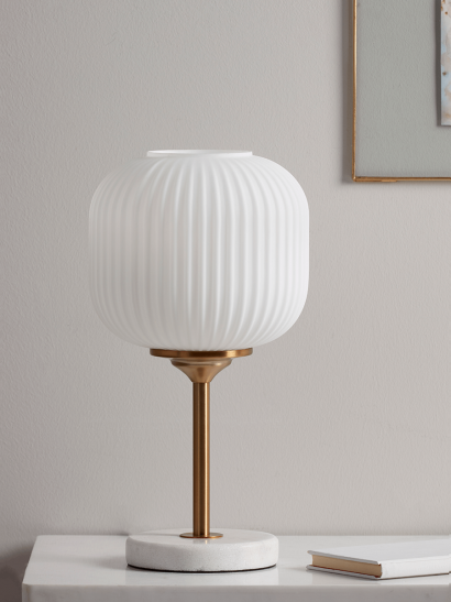 White Glass & Marble Table Lamp