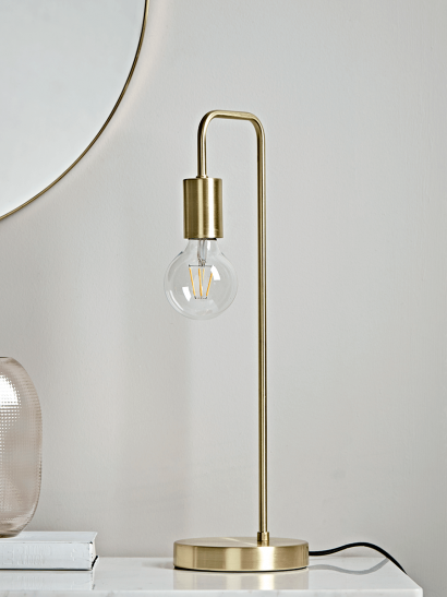 Brass Open Bulb Desk Lamp