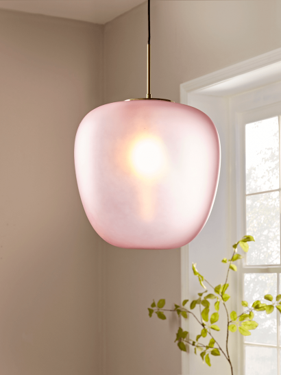 Oversize Blush Frosted Glass Pendant