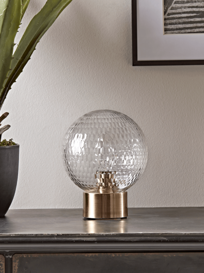 Textured Globe & Brass Table Lamp