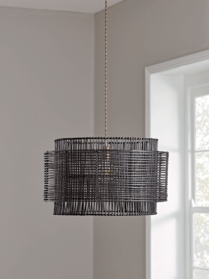 NEW Double Layered Black Rattan Shade