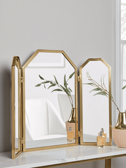 NEW Brass Folding Dressing Table Mirror