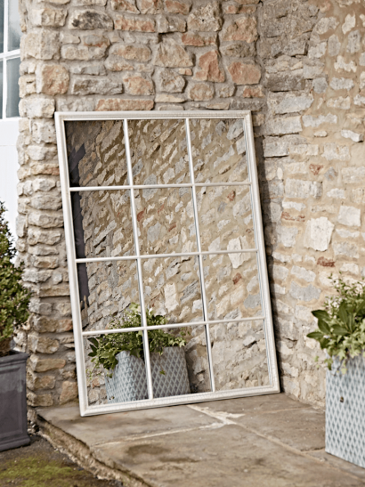 White Rectangular Outdoor Mirror