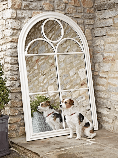 White Arch Outdoor Mirror