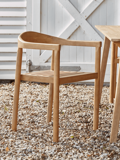 Two Indoor Outdoor Acacia Dining Chairs