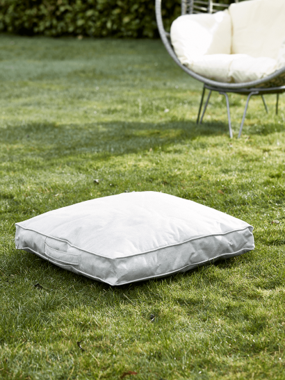 Indoor Outdoor Square Floor Cushion - Soft Grey