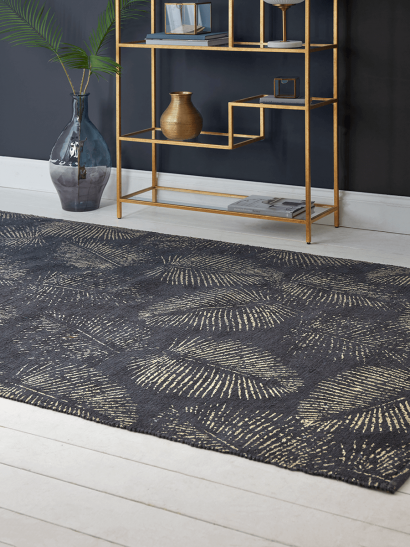 Navy Deco & Palm Rug