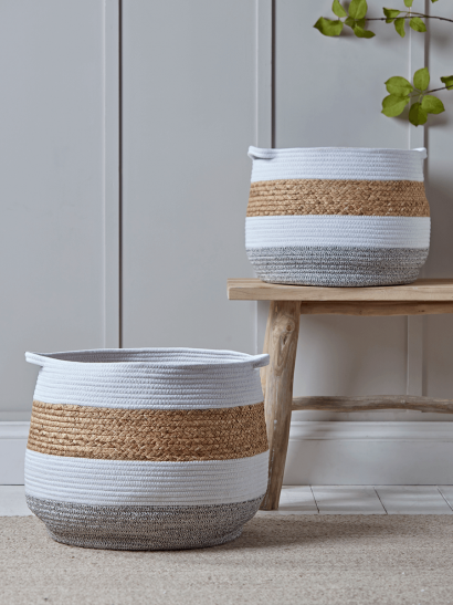 NEW Grey & White Striped Baskets