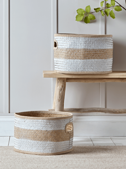 NEW White Striped  Seagrass Baskets
