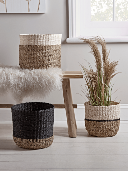 NEW Three Monochrome Dipped Baskets