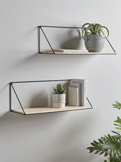 NEW Two Industrial Wood & Metal Shelves - Large
