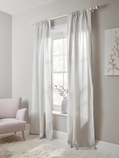 Washed Linen Curtain Pair - Soft Grey